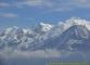 Massif du Mont Blanc avec le Tacul, le Maudit et le Mont Blanc surplombant le Dôme du Gouter. (7 octobre 2004)
