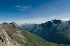 Panorama depuis le Col du Pigne avec les Aiguilles de la Lé, la Pointe d'Arpitetta, le Weisshorn, et le Besso (29 juillet 2018)