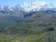 Vue depuis le col sur le refuge du Col d'Anterne et le Massif du Mont-Blanc (1er septembre 2006)