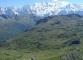 Vue depuis le col sur le refuge du Col d'Anterne et le Massif du Mont-Blanc