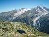 Lac des Chéserys avec le Glacier d'Argentière et du Tour en arrière-plan (7 aout 2015)