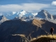 Vue sur la Pointe d'Almet au premier plan, la Pointe Percée au second plan, et le Mont Blanc au troisième plan (15 novembre 2015)