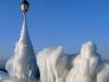Embarcadère d'Yvoire complètement prisonnier des glaces