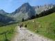 Long chemin carrossable dans l'alpage de la Rollaz
