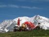 Terrasse du Pavillon devant le Mont-Blanc