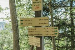 Panneau au Col des Sauts où il faut continuer de suivre la direction du Mont Veyrier et du Mont Baron (24 juin 2018)