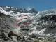 La partie disparue du glacier du Trient entourée de rouge (photo réalisée en Mai 2004)
