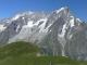 Panorama depuis la Tête de la Tronche : en premier plan, la montagne de la Saxe, derrière, le massif du Mont-Blanc (22 juillet 2005)