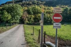 Départ du sentier au Chemin du Château d'Etrembières (13 octobre 2017)