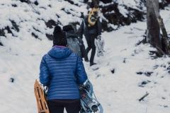 Le chemin se fait plus raide pour atteindre le Col de la Frête (25 décembre 2019)