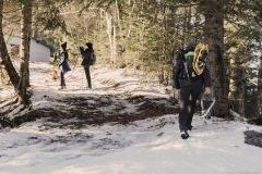 Le sentier s'aplatit après le Col de la Frête (25 décembre 2019)