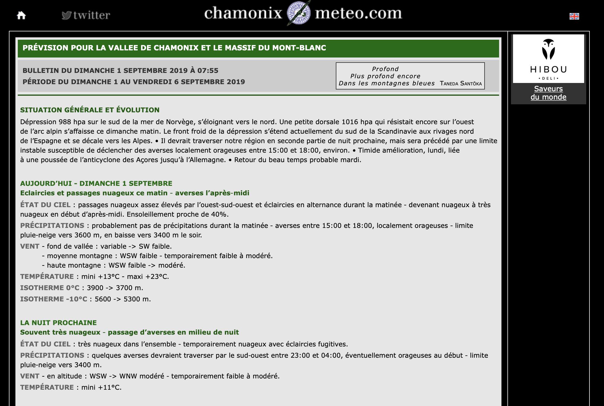 Prévisions selon Chamonix Météo